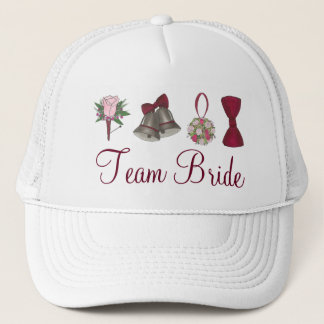 TEAM BRIDE Wedding Bells Rose Bridal Party Hat