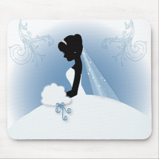Team Bride Wedding gown bridal silhouette Mouse Pad
