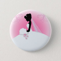 Team bride Wedding gown Bride bridal silhouette Pinback Button