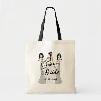 Team Bride   Wedding   Gray & Black   DIY Text Tote Bag