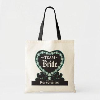Team Bride   Wedding   Jade Blue   DIY Text Tote Bag