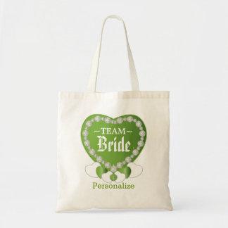 Team Bride   Wedding   Peridot Green   DIY Text Tote Bag