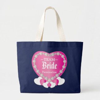 Team Bride | Wedding | Pink | DIY Text Large Tote Bag