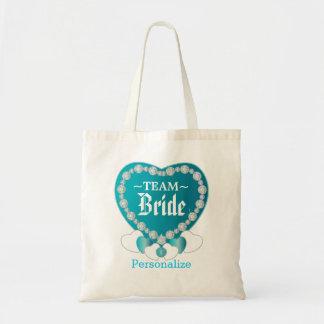 Team Bride   Wedding   Turquoise Blue   DIY Text Tote Bag