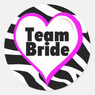 Team Bride Zebra Print Stickers