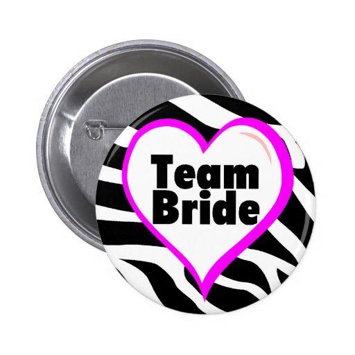 Team Bride Zebra Stripes 2 Inch Round Button
