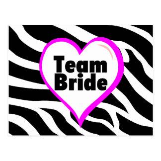 Team Bride Zebra Stripes Postcard