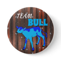 """Team Bull"" Pink Gender Reveal Button"