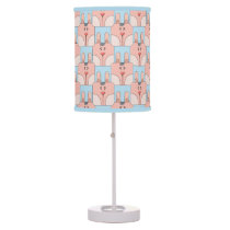 Team Bunny Face_Pink and Blue Desk Lamp