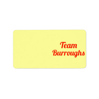 Team Burroughs Address Label