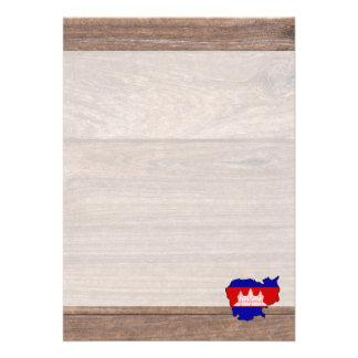 "Team cambodia Flag Map on Wood 5"" X 7"" Invitation Card"