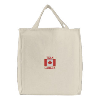 TEAM CANADA Sports Embroidered Tote Bag