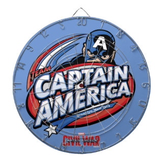 Team Captain America Cartoon Logo Dartboard With Darts