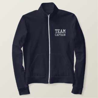 Team Captain Embroidered Zip Fleece Jogger Embroidered Jacket
