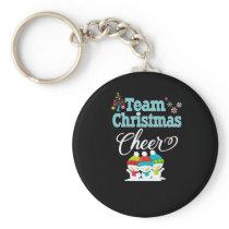 Team Christmas Cheer Family Gift Cute Snow Kids Keychain