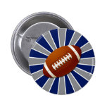 Team Colors Blue and Silver Retro Football Pin