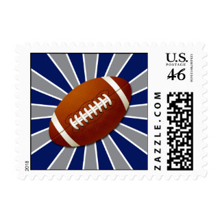 Team Colors Blue and Silver Retro Football Stamp