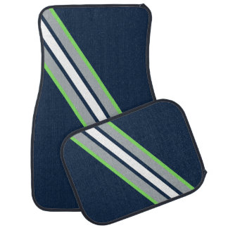 Team Colors Floor Mats Blue & Neon Green & Grey