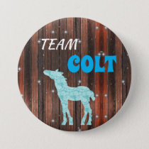 """Team Colt"" Pink Gender Reveal Pinback Button"