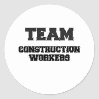 Team Construction Workers Classic Round Sticker