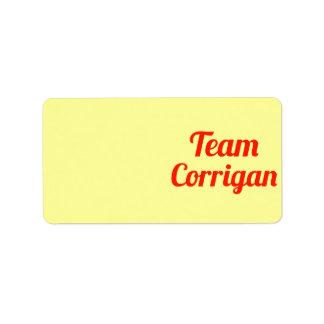 Team Corrigan Custom Address Labels