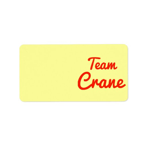 Team Crane Personalized Address Labels
