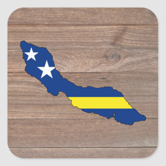 Team Curacao Flag Map on Wood Square Sticker