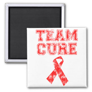 Team Cure (Red) 2 Inch Square Magnet