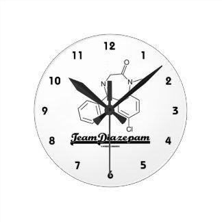 Team Diazepam (Chemical Molecule) Round Wall Clock