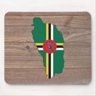 Team dominica Flag Map on Wood Mouse Pad
