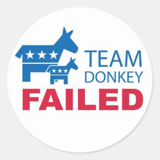 Team Donkey Failed Classic Round Sticker