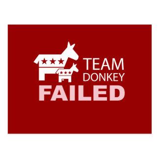 Team Donkey Failed Postcard