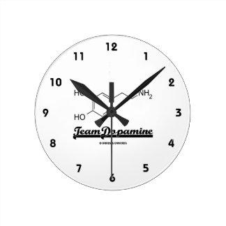 Team Dopamine (Dopamine Chemical Molecule) Round Wall Clock