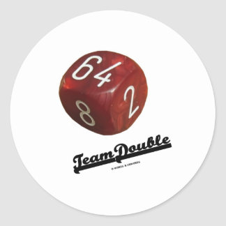 Team Double (Backgammon Doubling Cube) Classic Round Sticker