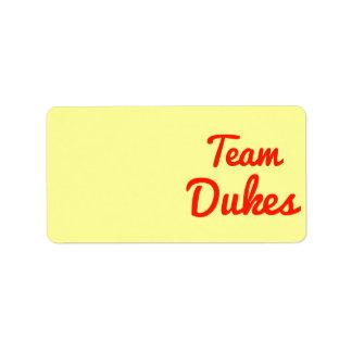 Team Dukes Address Label