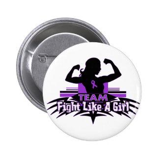 Team Fight Like a Girl - Fibromyalgia Pinback Buttons