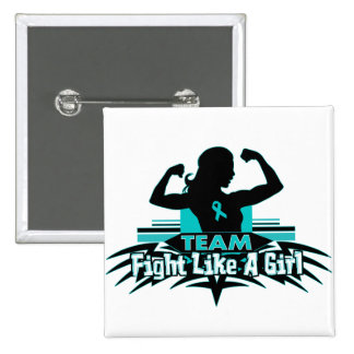 Team Fight Like a Girl - Gynecologic Cancer Pinback Buttons