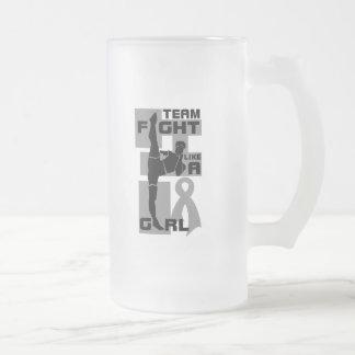 Team Fight Like A Girl Kick Brain Tumor 16 Oz Frosted Glass Beer Mug