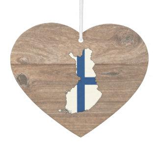 Team Finland Flag Map on Wood Air Freshener