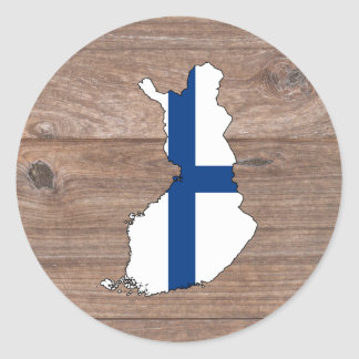 Team Finland Flag Map on Wood Classic Round Sticker
