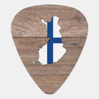 Team Finland Flag Map on Wood Guitar Pick