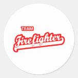 Team Firefighter Round Stickers