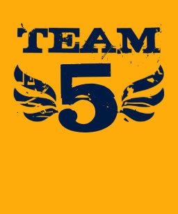 Team Five 5 Years Old Boy Birthday T Shirt