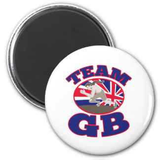 team gb great britain runner track and field 2 inch round magnet