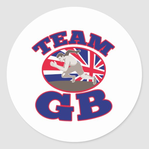 team gb great britain runner track and field round stickers