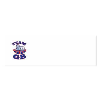 Team GB Lion sitting GB British union jack flag Double-Sided Mini Business Cards (Pack Of 20)