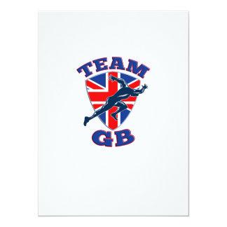 Team GB Runner Sprinter Start British Flag Shield 5.5x7.5 Paper Invitation Card