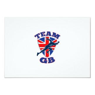 "Team GB Runner Sprinter Start British Flag Shield 3.5"" X 5"" Invitation Card"