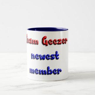 Team Geezer newest member Two-Tone Coffee Mug