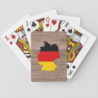 Team germany Flag Map on Wood Playing Cards
